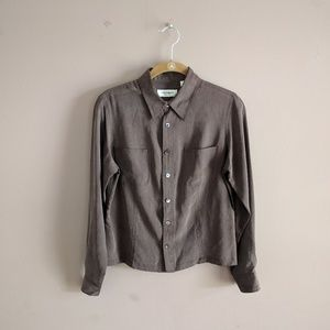 Equipment S Silk Shirt Brown Button Down Career